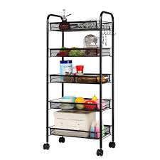 langria 5 tier basket stand kitchen bathroom trolley full metal rolling storage cart with lockable wheels 5 side hooks and shelves utility mesh wire 66 lbs