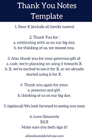 Wedding Thank You Notes Templates A Blonde A Briefcase How To Write Your Wedding Thank You