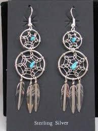 Double Dream Catchers Native American Navajo Made Double Dreamcatcher Earrings 83
