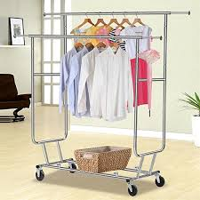 Rolling Coat Rack With Shelf Amazon Yaheetech Commercial Grade Garment Rack Rolling 96