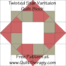 Quilt Therapy & Twisted Star Variation Quilt Block Free Pattern at QuiltTherapy.com! Adamdwight.com