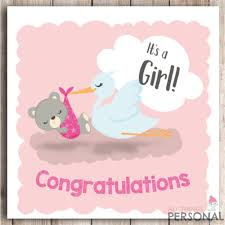 New Baby Girl Card Congratulations Parents Its A Girl Card