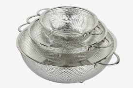 hÖlm 3 piece stainless steel mesh micro perforated strainer colander set