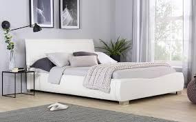 dorado white leather super king size bed