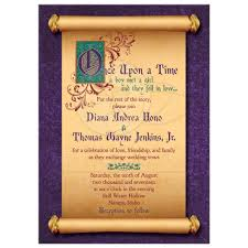 rectangle fairytale once upon a time wedding invitation with meval scroll illuminated text front marvelous fairytale