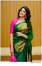 Green Saree With Pink Blouse Design Nyla In Gorgeous Green Pink Silk Saree Blouse Designs