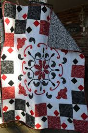 54 best Red and black quilts images on Pinterest | Knitting ... & SALE Handmade Quilt Bandanna Print Black, Red and White Paisley Applique  Throw Quilt Tablecloth Picnic Quilt Adamdwight.com
