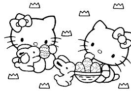 Disegni Da Colorare Per Pasqua Hello Kitty Con I Coniglietti