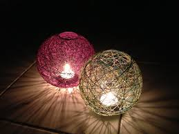 diy thread ball lanterns yarn balllanternslavender