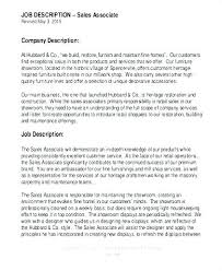 Sales Associate Job Dutie Fascinating Retail Sales Job Responsibilities Resume Description For Make