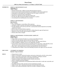 Receptionist Resume Examples Medical Receptionist Resume Samples Velvet Jobs 90