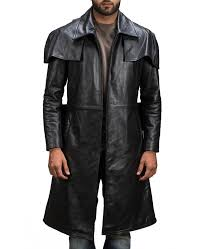 army black leather duster coat