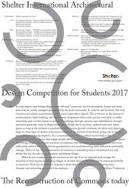 Shelter International Architectural Design Competition For Students 2018 Architecture Competitions 2018 Design Contests E Architect