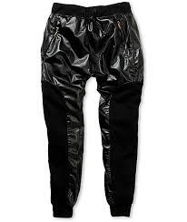 american stitch faux leather fleece jogger pants