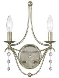 crystorama metro 2 light wall sconce in antique silver wall sconces wall lights