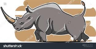 Black Rhino Design African Black Rhino Vector Flat Design Stock Vector Royalty