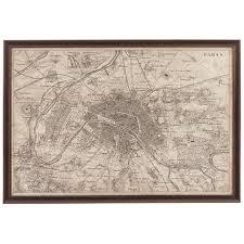 sepia tones vintage map of paris framed wall art
