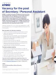 or personal assistant at kpmg secretary or personal assistant at kpmg