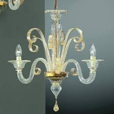 goldoni 3 lights murano chandelier transpa gold color