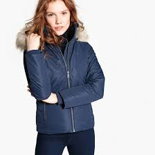 short padded jacket with faux fur hood navy blue tommy jeans la redoute