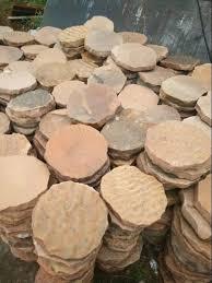 pink sandstone round stepping stones