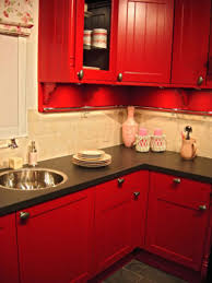Kitchen Corner Decorating Eye Catching Small Kitchen Corner With Red Cabinets Color And Dark