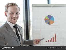 Business Man Making Presentation Reports Diagrams Graphs