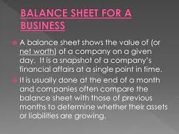 Company S Net Worth A Balance Sheet Shows The Value Of Or Net Worth Of A Company On A