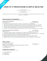 Adjunct Faculty Resume Custom Professor Resume Examples College Instructor Resume Sample Art