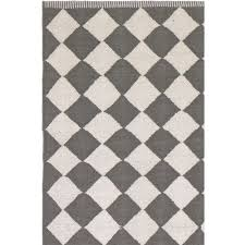 diamond grey white cotton rug