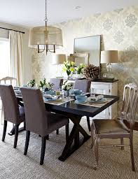 wall buffet furniture dining room transitional with pendant light feature wall damask wallpaper