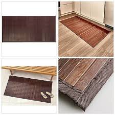 bamboo floor mat bathroom rug wood natural mocha non skid home decor 24 x 48