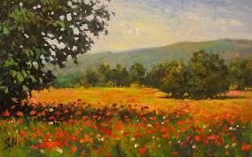 poppy field provence landscape oil painting