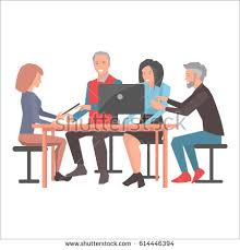 people sitting at table png. smiling people sitting at table with black laptop on white background. two women and eldrey png
