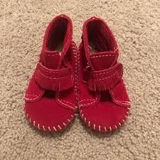 Infant Size 4 Minnetonka Red Moccasins Nwot