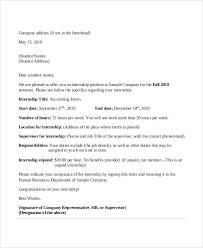 Letter Format For Internship Application 11 Sample Internship Acceptance Letters Pdf Doc