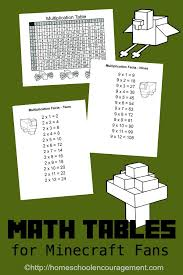 Free Minecraft Printable Multiplication Table and Charts