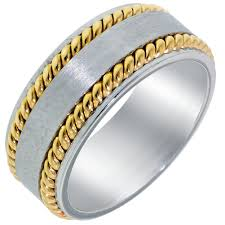 Dora Wedding Band In 14kt White And Yellow Gold 8mm