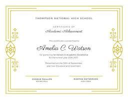 White Gold Elegant Academic Award Certificate Athlete Of The