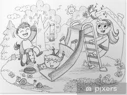 Poster Parco Giochi 3 Bambini Felici Giocare Disegnati A Mano