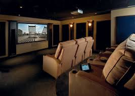 Comely Home Theater Room Ideas In Black Beige Interior Nuance With Beige  Sofa And Cushion Pad Also Dim Wall Lamp And Splendid Night Sky Ceiling  Decoration ...