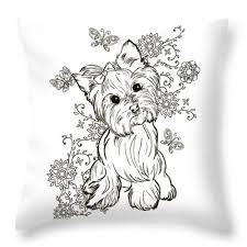Download and print these coloring pages. Yorkie Terrier Throw Pillow For Sale By Cindy Elsharouni In 2020 Animal Coloring Pages Dog Coloring Page Coloring Pages