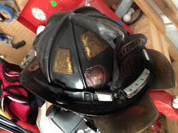 burned fire helmet