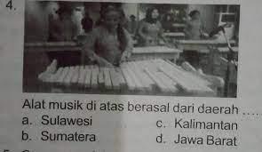 Serunai biasanya digunakan untuk sarana hiburan rakyat minang. Alat Musik Di Atas Berasal Dari Daerah A Sulawesic Kalimantanb Sumaterad Jawa Barat Brainly Co Id