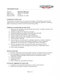 Majestic Restaurant Management Job Description Resume Examples For