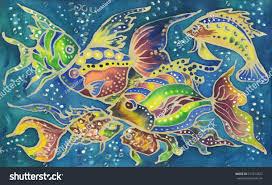 Batik Fish Design Beautiful Colorful Watercolor Hand Painted Batik Stock Photo