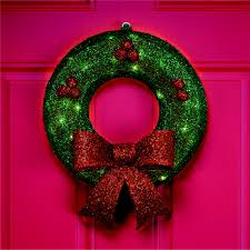 trim a home reg 67362se 15in lighted tinsel wreath christmas