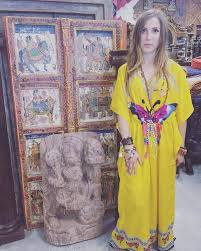 Bohemian Kaftan Yellow Butterfly Print V Neck Moroccan Maxi Caftan