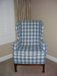 blue white linen wing chair slipcover