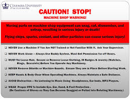 mechanical equipments list machine shop safety rules carleton laboratory website